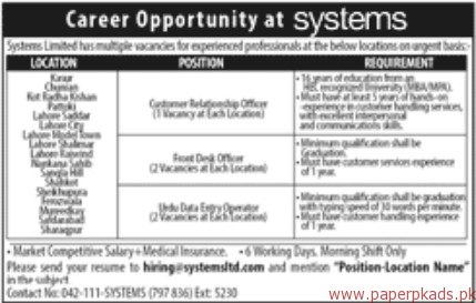 Systems Limited Jobs 2018