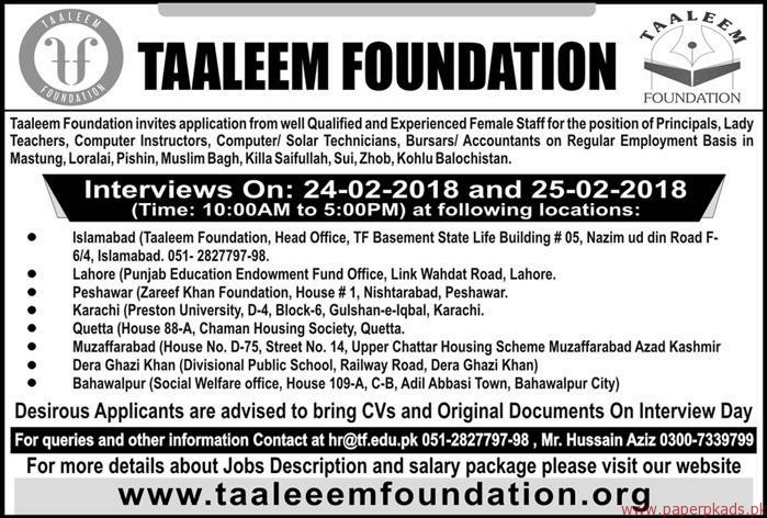 Taaleem Foundation Jobs 2018
