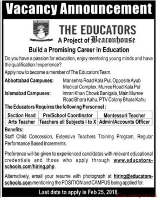 The Educators Project of Beaconhouse Jobs 2018