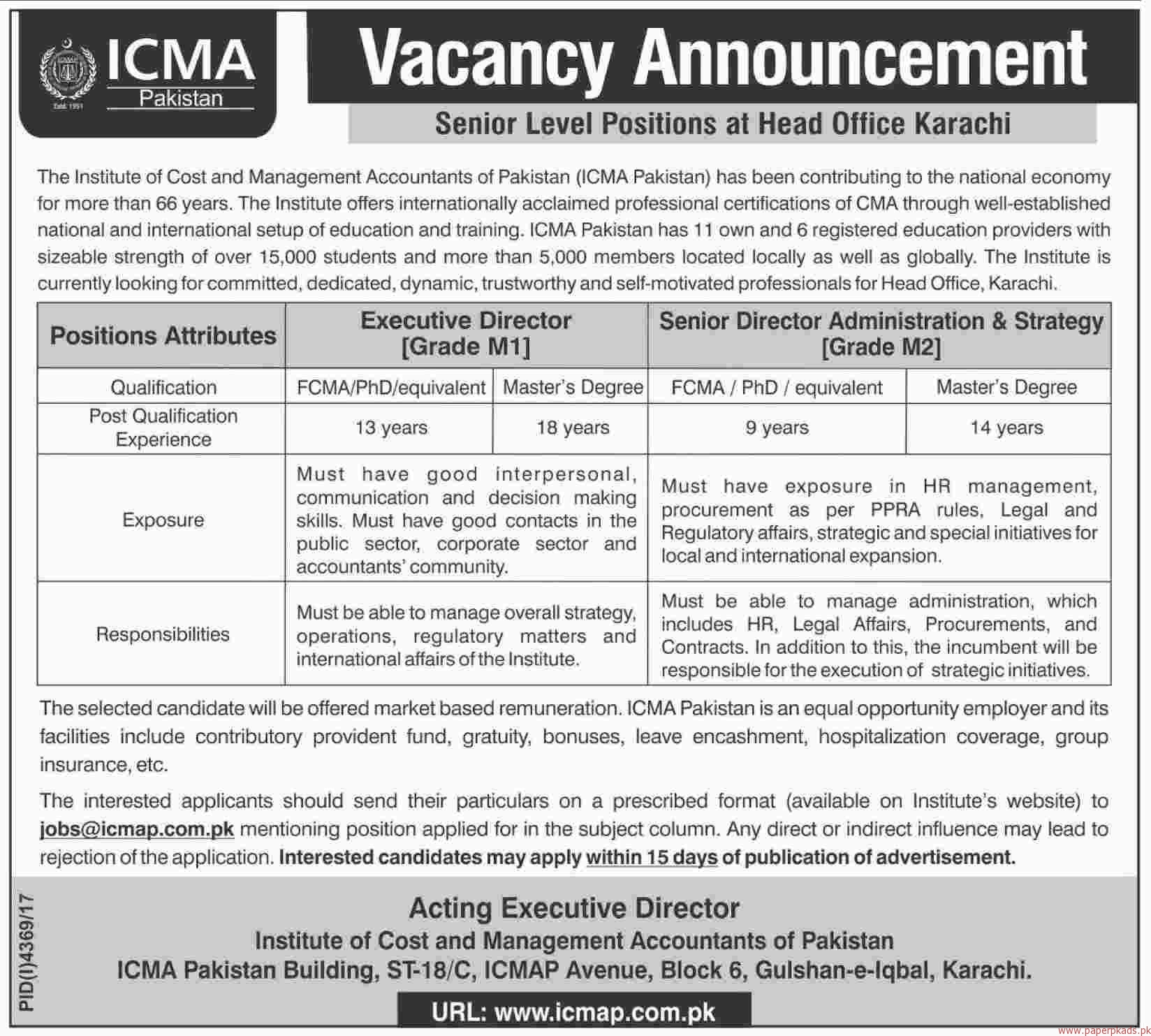The Institute of Cost and Management Accountants Pakistan ICMA Jobs 2018