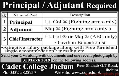 Cadet College Jhelum Jobs 2018-2