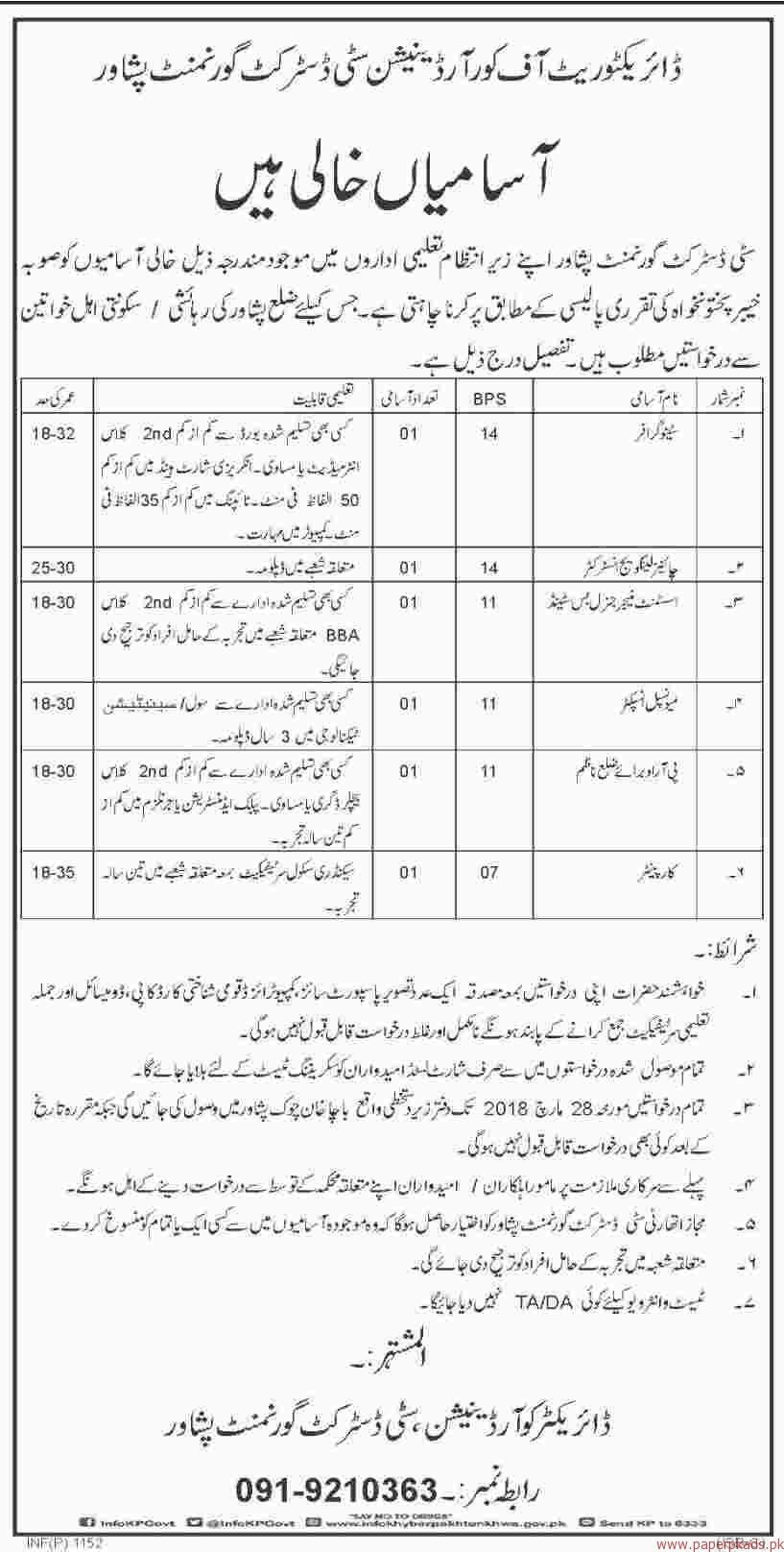 Directorate of Coordination City District Government Peshawar Jobs 2018
