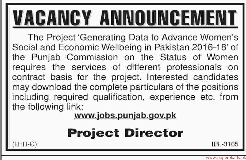 Generating Data to Advance Womens Social and Economic Wellbieng in Pakistan Jobs 2018