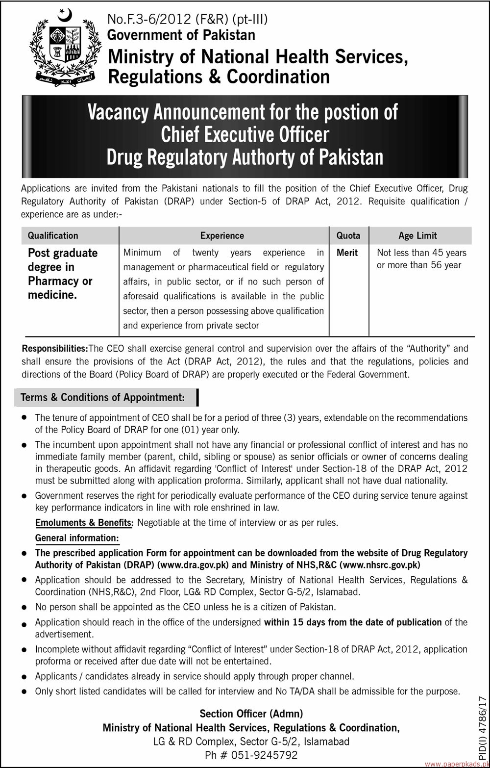 Government of Pakistan - Ministry of National Health Services Regulations & Coordination Jobs 2018