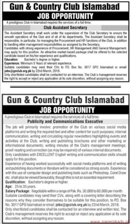 Gun & Country Club Islamabad Jobs 2018