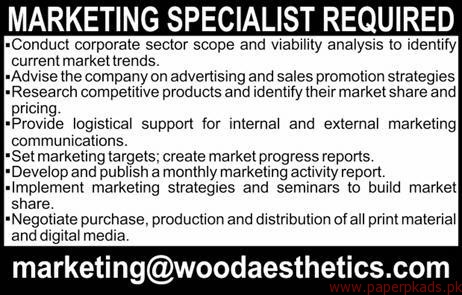 Marketing Specialists Required
