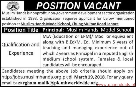 Muslim Hands nonprofit non-government development sector organization Jobs 2018
