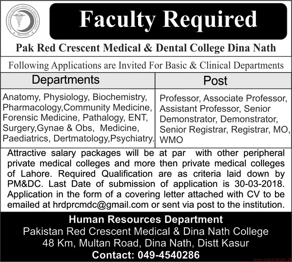 Pak Red Crescent Medical & Dental College Jobs 2018