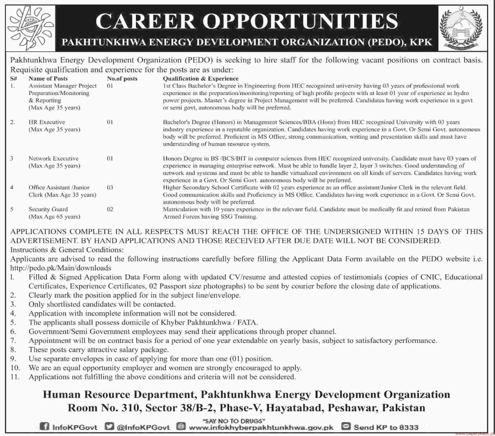 Pakhtunkhwa Energy Development Organization PEDO Jobs 2018