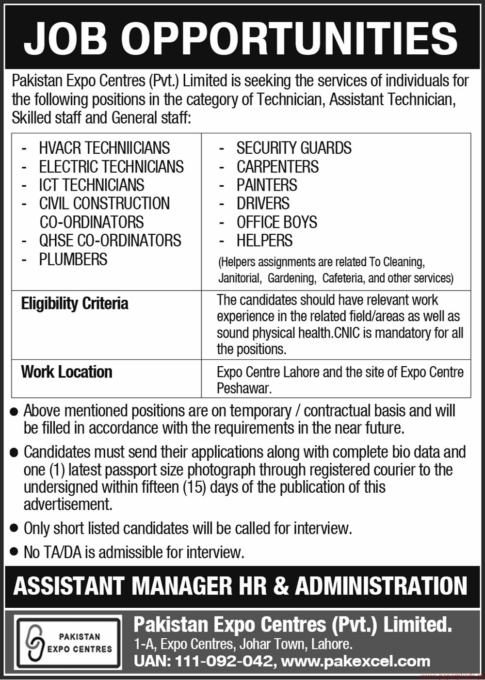 Pakistan Expo Centres Private Limited Jobs 2018