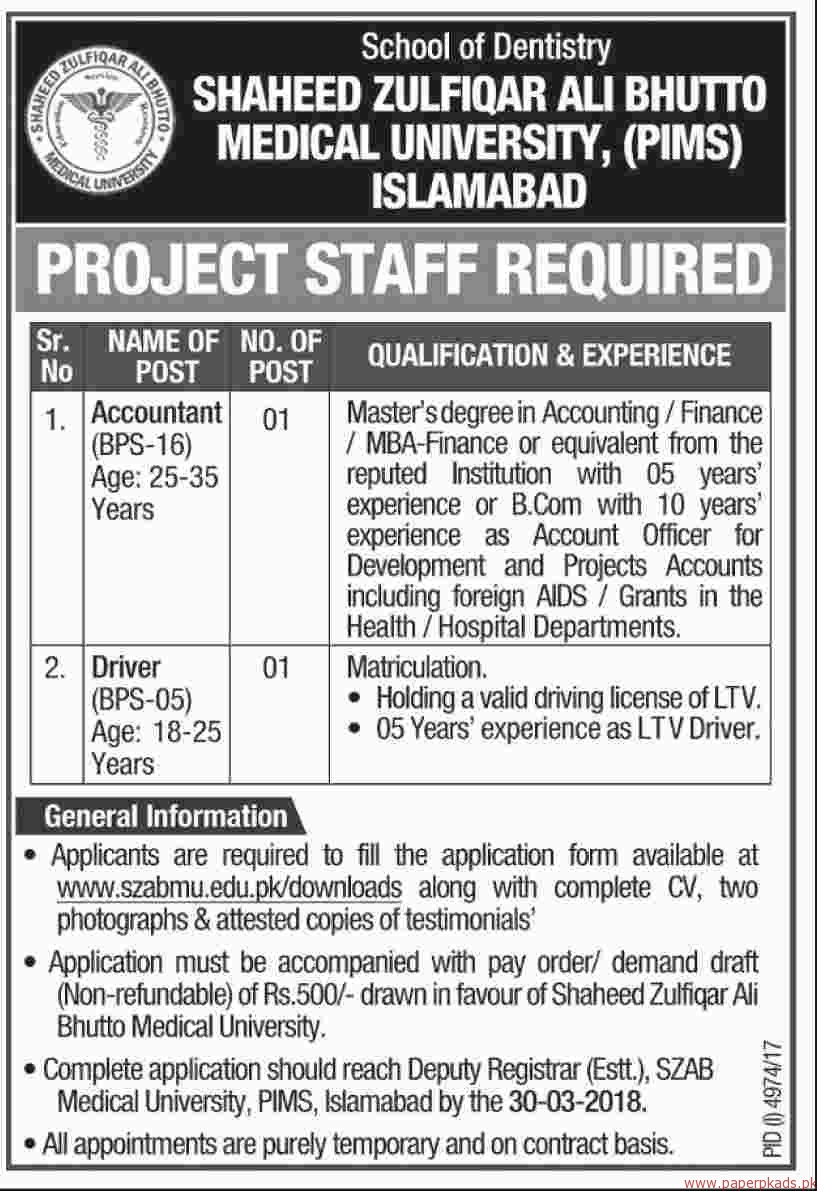 Shaheed Zulfiqar Ali Bhutto Medical University PIMS Jobs 2018