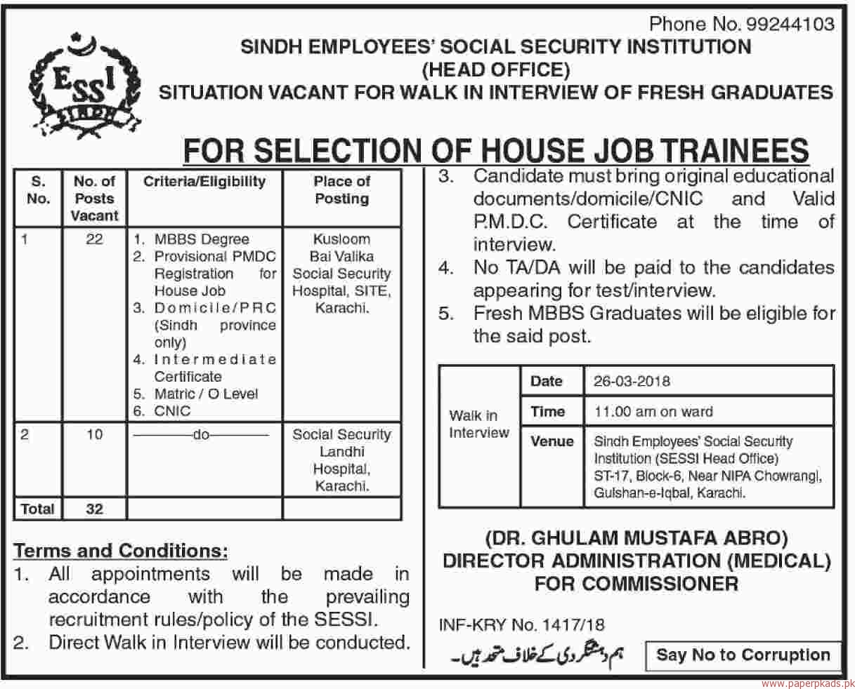 Sindh Employees Social Security Institution Jobs 2018