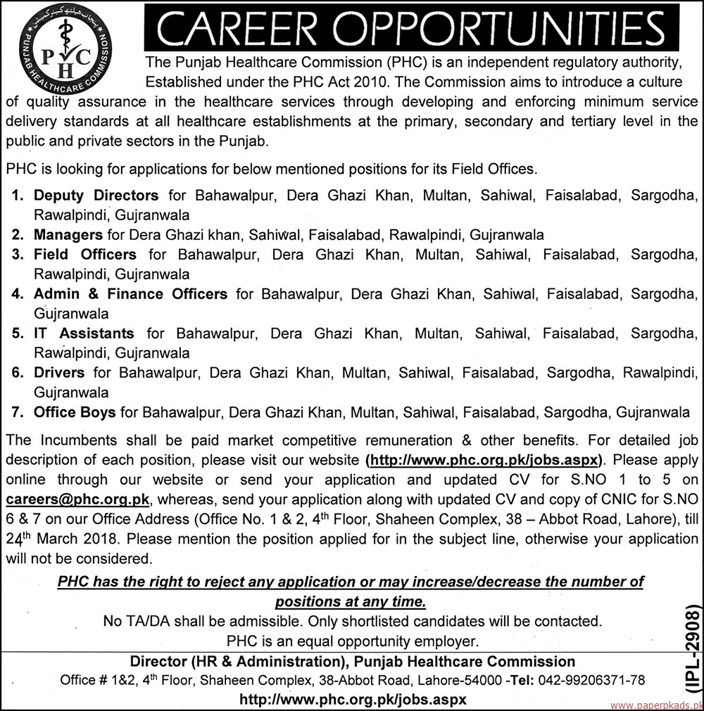 The Punjab Healthcare Commission PHC Jobs 2018