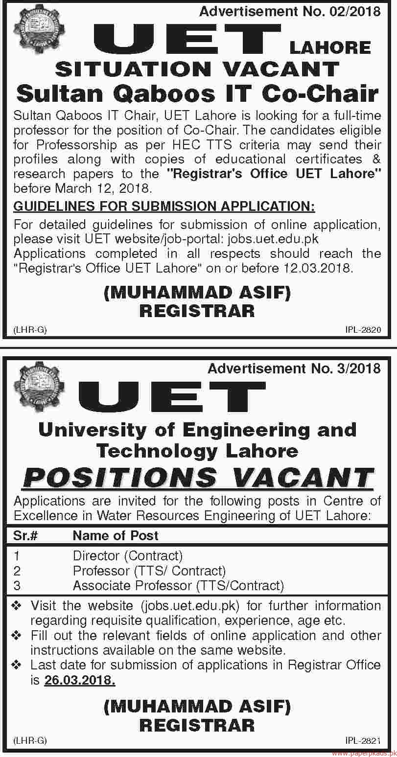 UET University of Engineering and Technology Jobs 2018