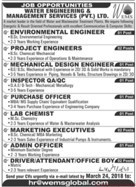 Engineering Management Jobs : Water engineering management services private limited