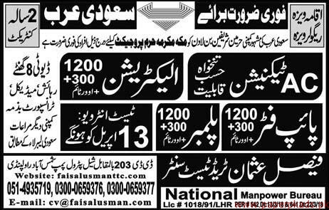 AC Technicians Pipe Fitters and Other Jobs in Saudi Arabia