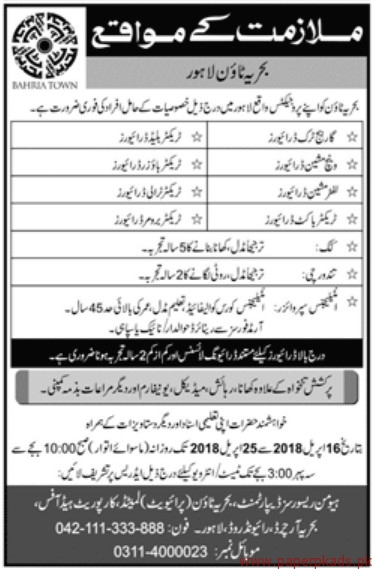 Bahria Town Lahore Jobs 2018 Latest