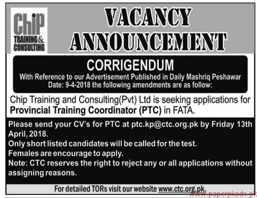 CHIP Training & Consulting Private Limited Jobs 2018 - 2