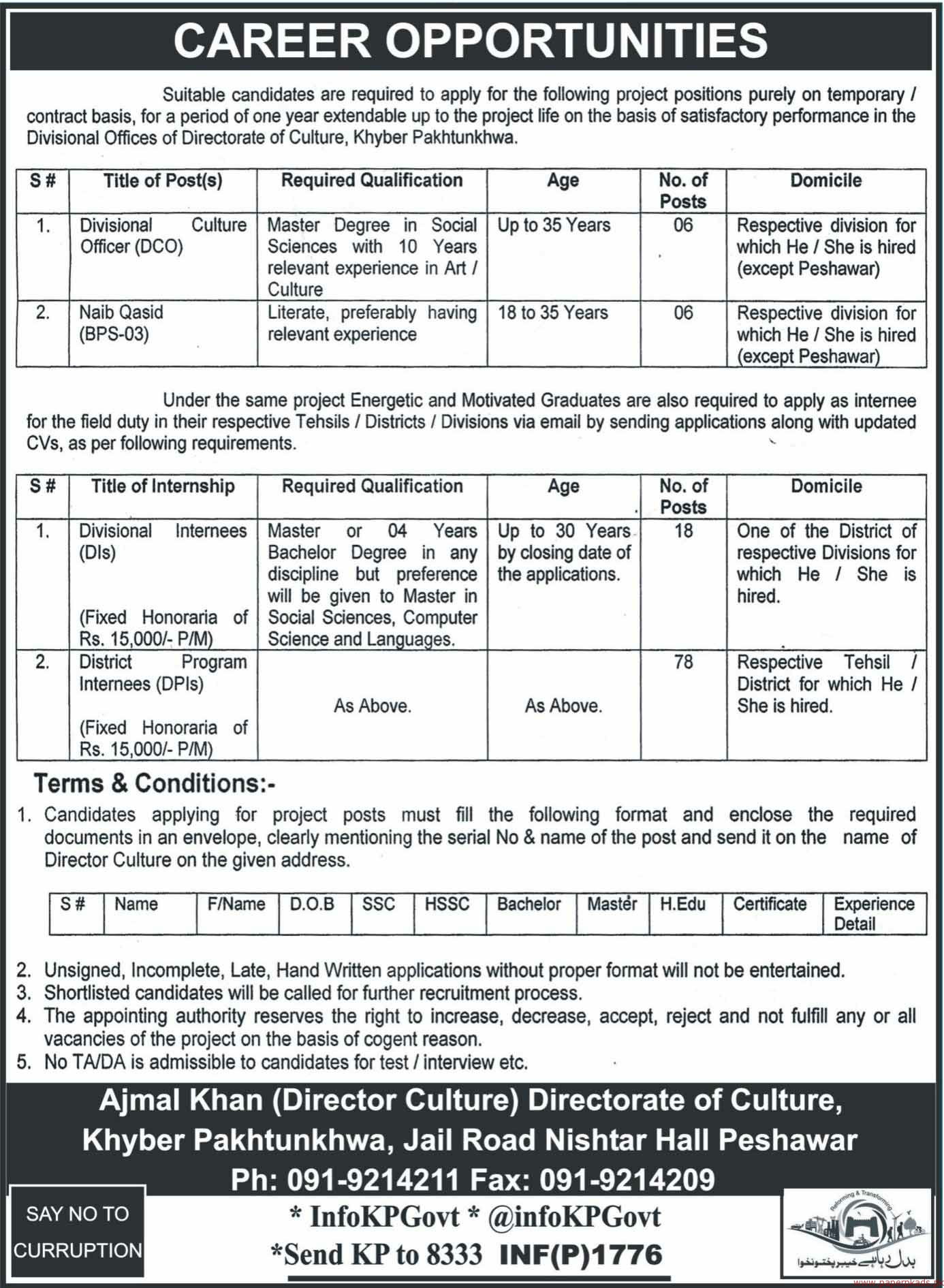 Directorate of Culture KPK Jobs 2018 Latest