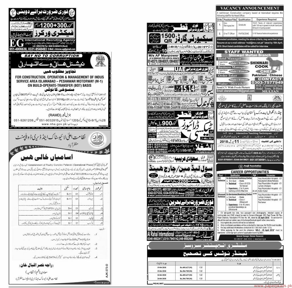 Express Jobs ads 10 April 2018 Latest Multiple Jobs 2018