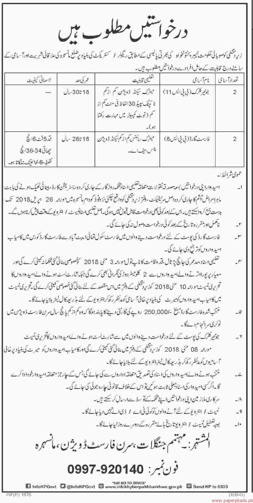 Forest Division Mansehra Jobs 2018 Latest