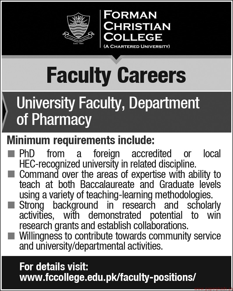 Forman Christian College Jobs 2018 Latest