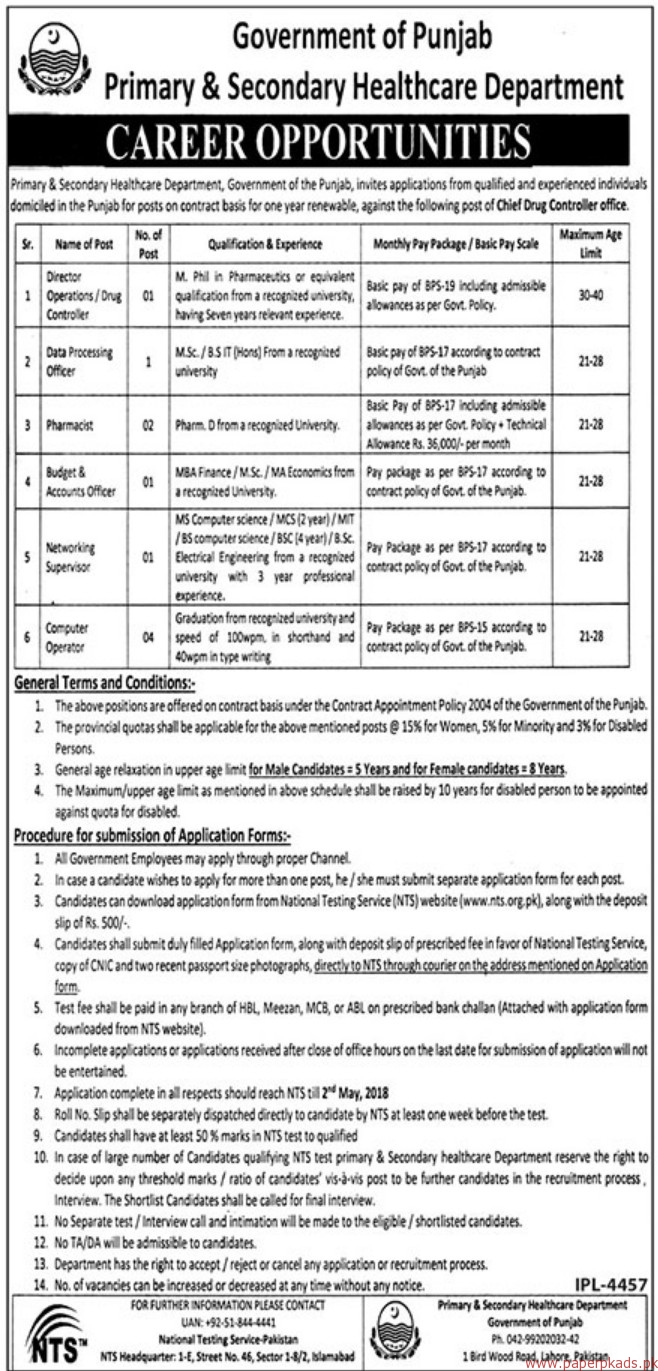Government of the Punjab - Primary & Secondary Healthcare Department Jobs 2018 Latest