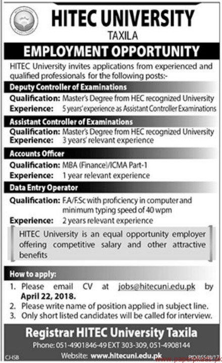 HITECH University Taxila Jobs 2018 Latest