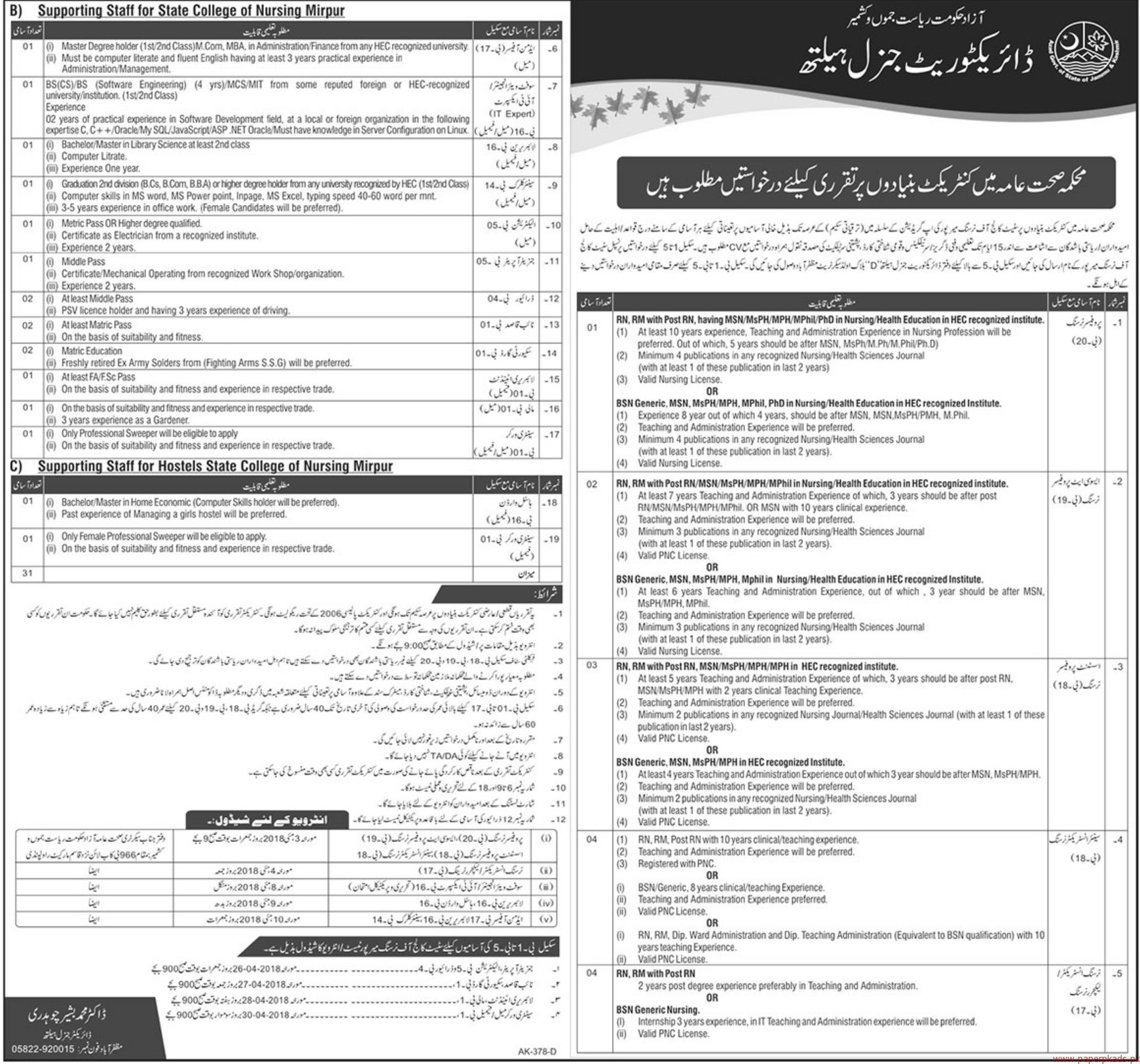 Health Department Jobs in Azad Government of the State of Jammu & Kashmir 2018