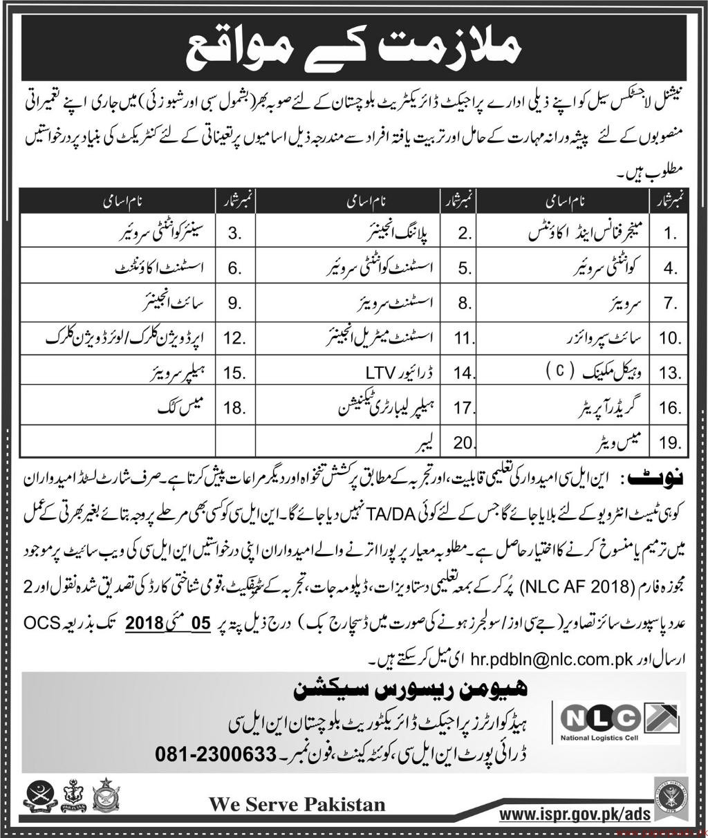 National Logistic Cell NLC Department Jobs 2018 Latest