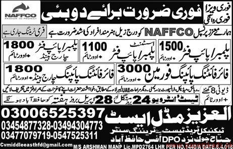 Plumbers Pipe fitters and Foreman Jobs in Dubai