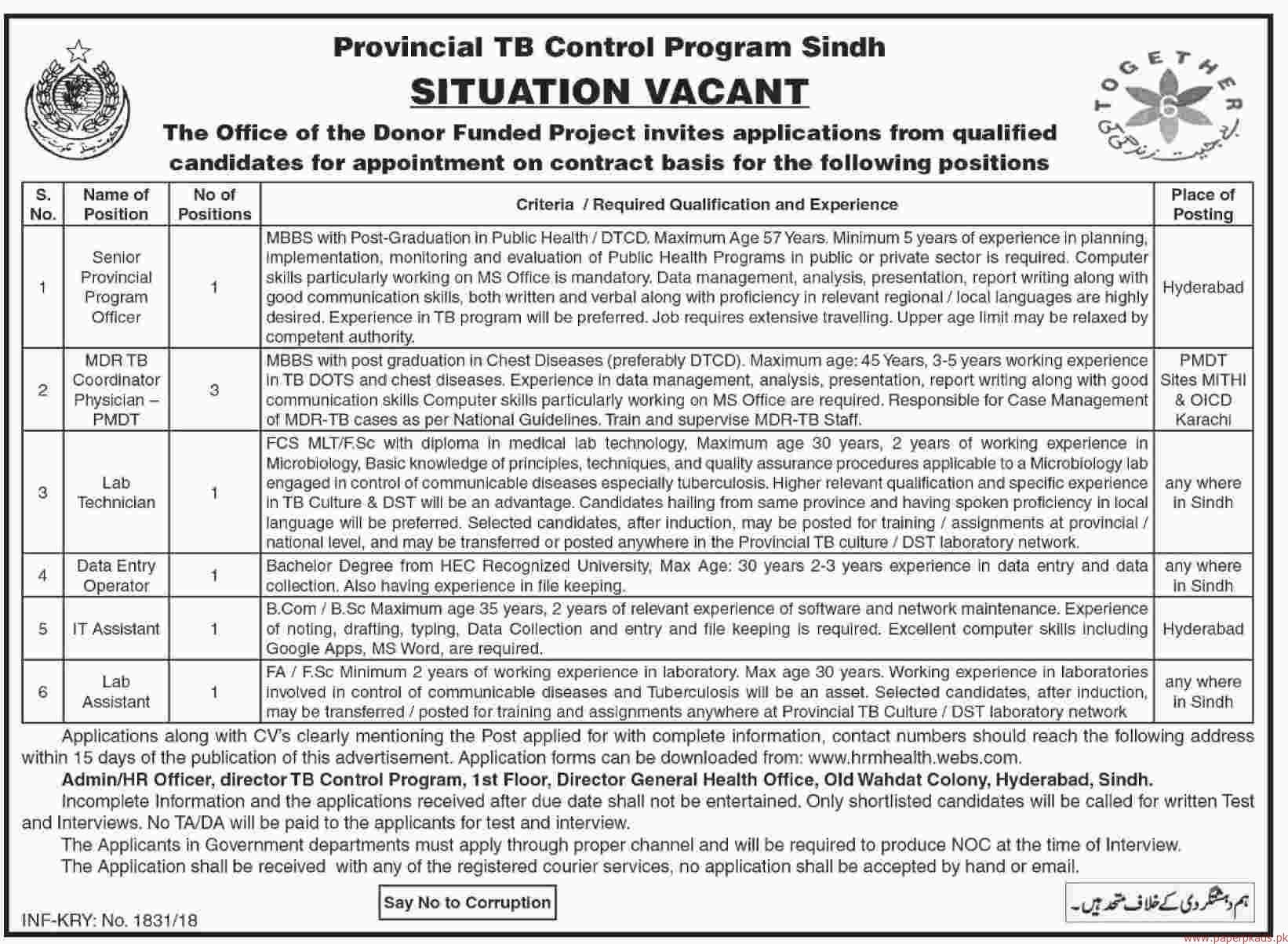 Provincial TB Control Program Sindh Jobs 2018 Latest