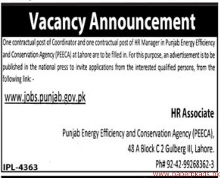 Punjab Energy Efficiency and Conservation Agency PEECA Jobs 2018 Latest
