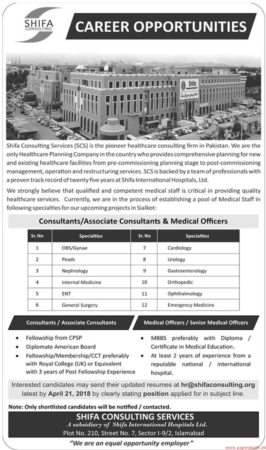 Shifa consulting Services Jobs 2018 Latest