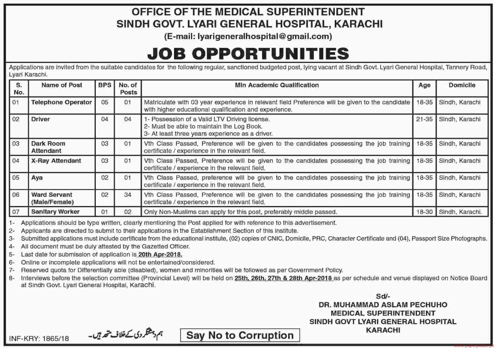 Sindh Government Lyari General Hospital Jobs 2018 Latest