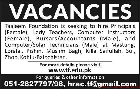 Taleem Foundation jobs 2018 Latest