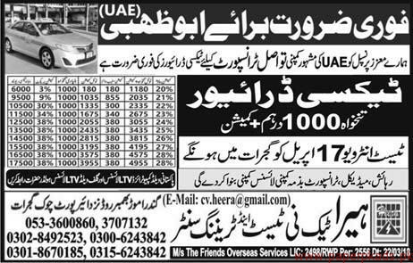 Taxi Drivers Required for Abu Dhabi