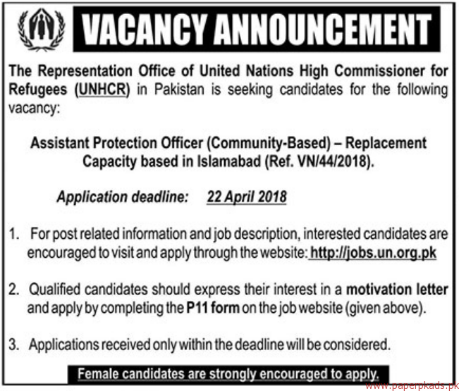 The Representation Office of United Nations High Commissioner for Refugees Jobs 2018