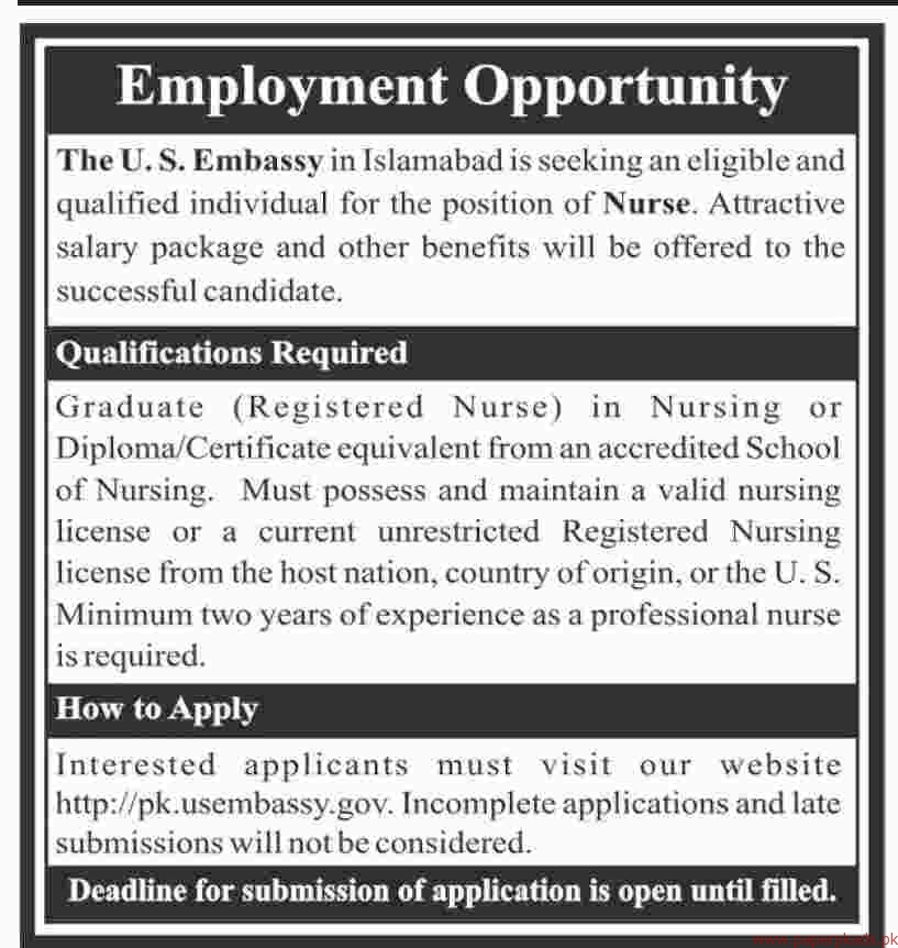 The US Embassy Islamabad Jobs 2018 Latest