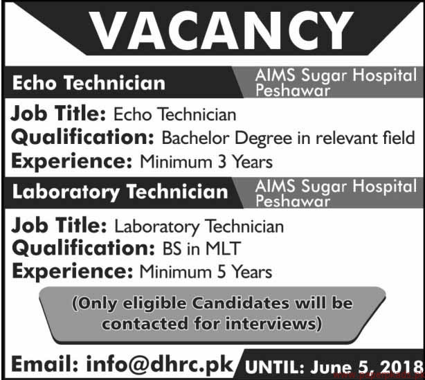 AIMS Sugar Hospital Jobs 2018
