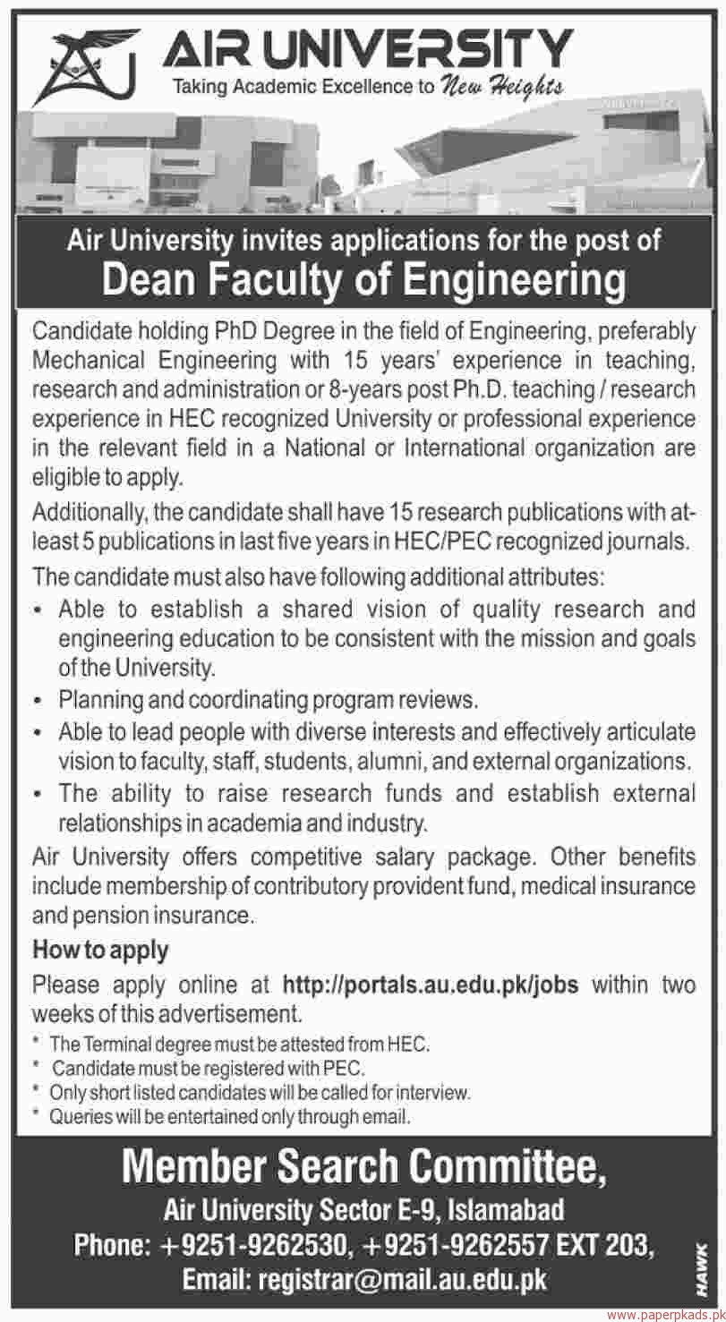 Air University Jobs 2018 Latest