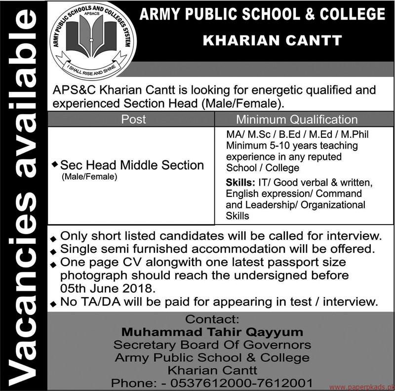 Army Public School & College Jobs 2018 Latest