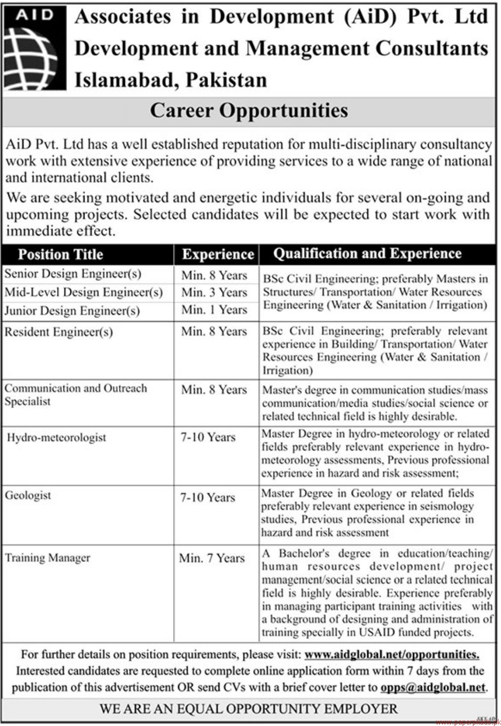 Associates in Development AiD Private Limited Jobs 2018