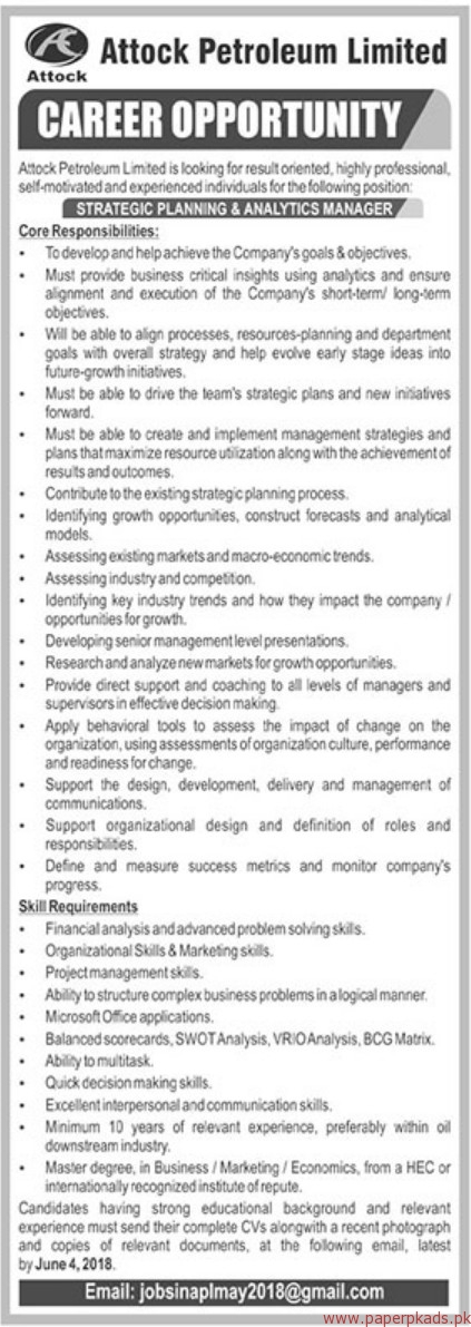 Attock Petroleum limited Jobs 2018 Latest
