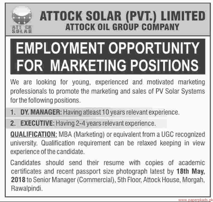 Attock Solar Private Limited Jobs 2018 Latest