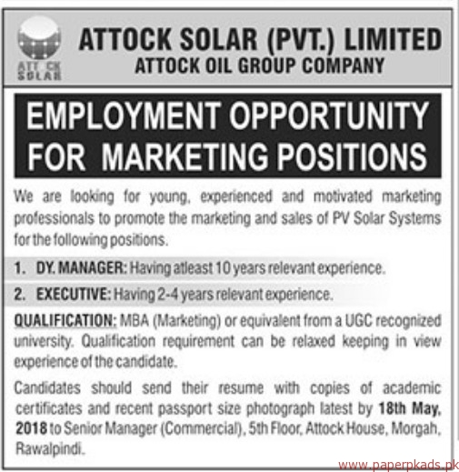 Attock Solar Private Limited Jobs 2018