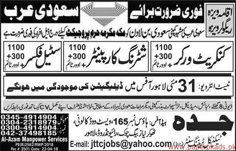 Contract Workers Steel Fixers and Other Jobs in saudi Arabia
