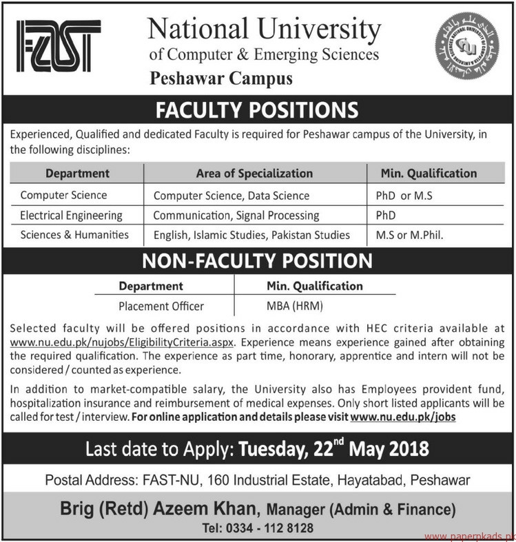FAST National University of Computer & Emerging Sciences Jobs 2018 Latest