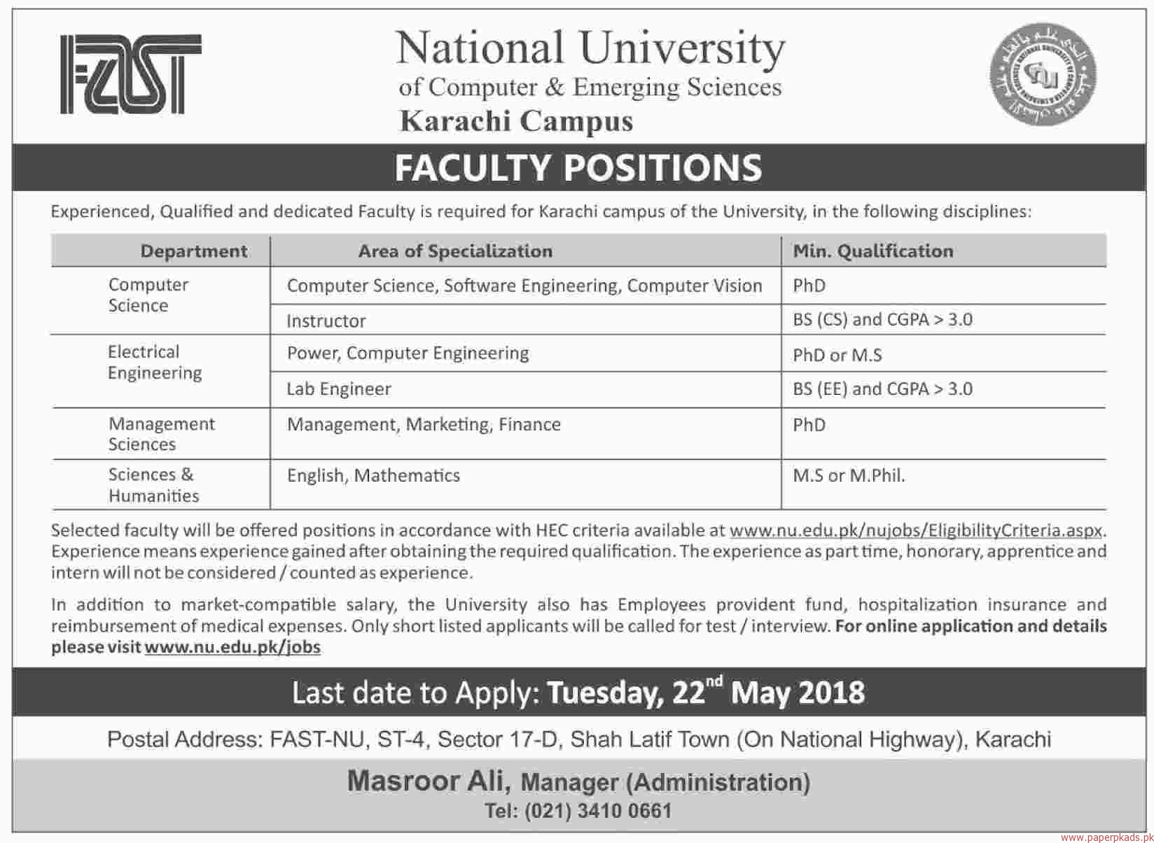 FAST National University of Computer & Emerging Sciences Jobs 2018