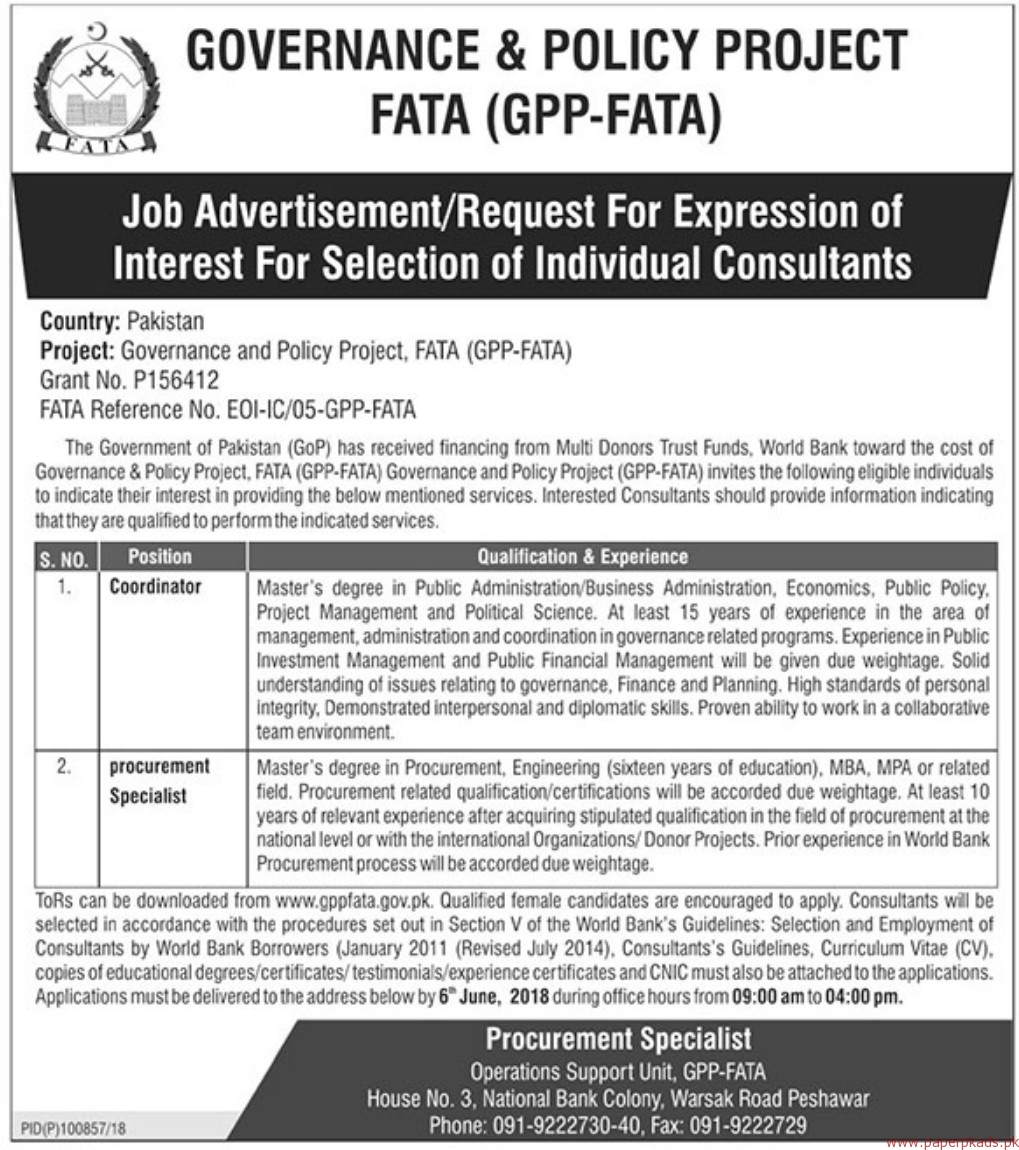 Governance & Policy Project Jobs 2018 Latest